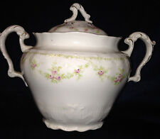 JOHNSON BROTHERS SUGAR BOWL PINK ROSES FLOWERS GREEN SWAGS EMBOSSED SCALLOPED