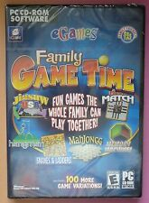 FAMILY GAME TIME PC CD-ROM inc SNAKES & LADDERS, MAHJONGG, LUDO, HANGMAN new!