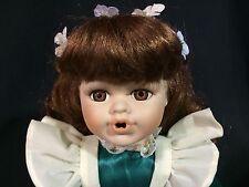 "Long Brown Hair Hazel Eyes 12"" Porcelain Cloth Body Doll Green Dress Open Mouth"