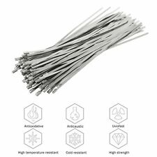"""304 Stainless Steel 12"""" Exhaust Wrap Coated Metal Locking Cable Zip Ties 100 Pcs"""