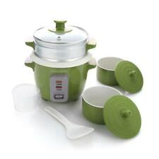 Lorena Garcia Skinny Mini™ Cooker with Steamer and Free Mini Pots, Lorena Green