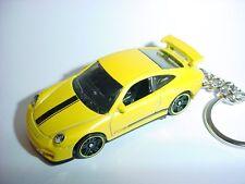 NEW 3D PORSCHE 911 GT3 CUSTOM KEYCHAIN keyring key YELLOW racing finish GT
