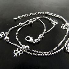 """Leaf Glover Bead Link Design 10"""" Anklet Bracelet 925 Sterling Silver S/F Four"""