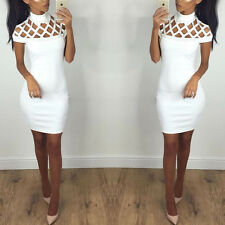 UK Women Ladies Choker High Neck Bodycon Caged Sleeves Mini Party Summer Dress XXXXS White#1
