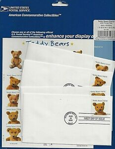 US Scott 3656a 2002 Teddy Bears 20 Stamps + 4 Covers