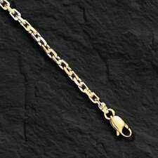 """14k Solid Two Tone Gold Handmade Link Men's chain/Necklace 22"""" 38 grams 4.5MM"""