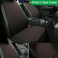 2* Front Seat Cover Breathable Linen Cushion Protector For Auto Car Black + Red