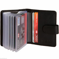 Soft Black Leather Credit Card Holder with RFID Protection - Takes 20 Cards