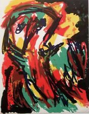 "KAREL APPEL mounted original lithograph, 1961, 16 x 14"", COBRA art brut"