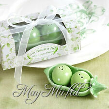 Ceramic 2 Peas in a Pod Salt & Pepper Shakers Wedding Party Baby Shower Favors I