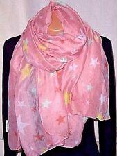 Neu Damen XL Strandtuch Langschal Stola Pink/Sterne Mehrfarbig180x90cm Tuch Top