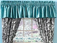 "ROYAL SAFARI CHIC TEAL ZEBRA STRIPE PRINT Girls WINDOW Treatment 17""x 84""VALANCE"
