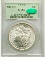 "1881-S * PCGS MS67 "" CAC "" OGH "" Silver MORGAN Dollar $1 BLAST WHITE Superb GEM+"