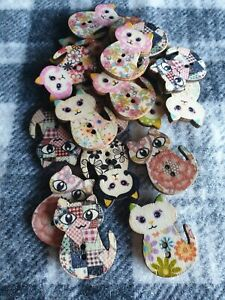 10 large mixed cat wooden sewing craft knitting buttons 30mm 2 hole