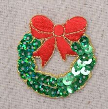 Sequin Wreath - Christmas - Iron on Applique/Embroidered Patch