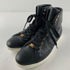 Versace Men EU 43 US 10.5 Black High Top Fashion Sneakers Gold Medusa Cutout