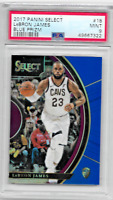 2017/18 PANINI SELECT LEBRON JAMES BLUE PRIZM PSA 9 MINT #18 107/299 LAKERS