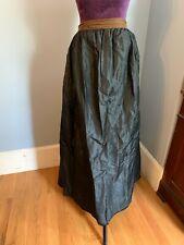 Antique Victorian Long Full Black Silk skirt button pocket velvet trim 1800s