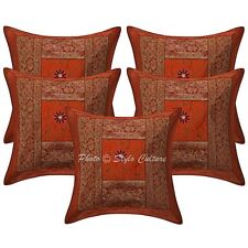Polydupion Silk Embroidered Brocade Pillow Cases Patchwork Ethnic Cushion Covers