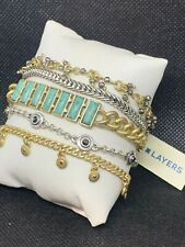LUCKY BRAND Two-Tone Turquoise Lucky Layer Multi-Chain Bracelet NWT $59 W@W