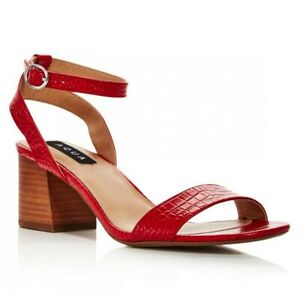 Aqua Carly Women Slingback Ankle Strap Sandals Size US 7M Red Croc Print Leather