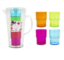 Bello Jug Set with 4 Coloured Water Juice Glasses BBQ Picnic Pitcher Tumblers