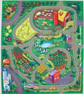 Farm Countryside Floor Play Mat Game for Kids Roads in Felt Cars Trucks Trains