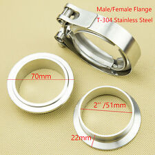 2'' 304 Stainless Steel V Band Clamp Kit Male And Female Flange Turbo Exhaust