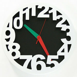 35cm Large Round Wall Clock White Steel Modern Designer Home Decor Silent Quartz
