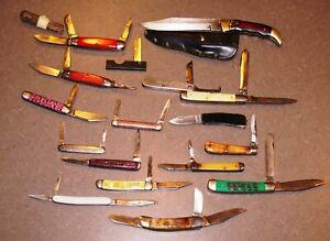 Antique & Vintage Lot of 17 Folding Pocket Knives!!
