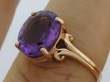 sR080- SUPERB Genuine 9ct Solid Rose Gold LARGE Natural Amethyst Ring size P
