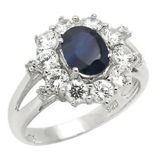 De Buman Sterling Silver 3.84ctw Sapphire & Cubic-Zirconia Elegant Ring, Size 7