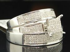 Diamond Matching Trio Set 10K White Gold Square Engagement Ring Wedding Band