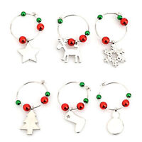 6 pcs/ 1 set Chic Christmas Wine Glass Charms Gift Table Decorations Ornament