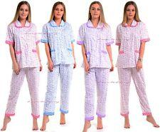 Ladies Womens 100% Cotton Woven Printed Winter Warm Nightwear Pyjama Set PJ's.