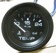 "Medallion Black Dial w/ Black Bezel 2"" Boat Water Temperature Gauge SHK-100-30"