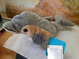 "Princess Soft Toys Dash Dolphin Blue and Tan Plush NWT Vintage Rare 10"" Amazing"