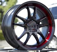 18X9.5 +45 F1R F102 5X112 BLACK RED WHEELS FITS VW PASSAT CC JETTA GOLF AUDI A3