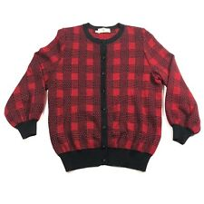 Valentino Boutique Womens S Wool Red Black Checkered Long Sleeve Button Blouse