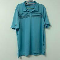 Adidas Climacool Men's Blue Stripe Short Sleeve Golf Polo Shirt Size Large