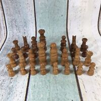 Vintage French Regency Wooden Chess Set - king approx 8cm - one Missing