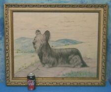 FAB SKYE TERRiER SiGNED BARNES OLD PENCiL CHARCOAL DRAWiNG ORiGiNAL ART PAiNTiNG