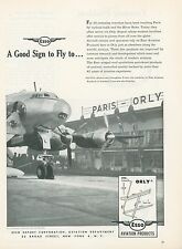 1951 Esso Fuel Aviation Ad Orly Airport Paris France French Oil Gas