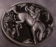 Pewter Belt Buckle rodeo Bronco Busting NEW right