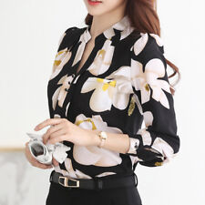 Women Long Sleeve Floral Print Casual Shirt Chiffon Blouse Top Tee Plus S-3XL