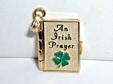 14K YELLOW GOLD IRISH PRAYER BOOK CHARM PENDANT OPENS BIBLE VERSE