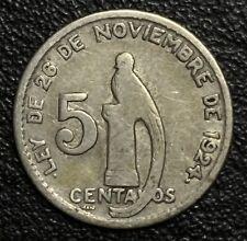 1945 GUATEMALA Silver  5 Centavos VF