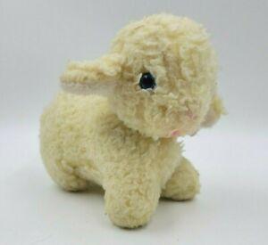 """Vintage Bantam 10"""" Plush Lamb Wind Up Musical Stuffed Animal Pastel Working"""