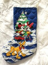 Vtg Handmade Mickey Mouse & Friends Christmas Stocking Quilted Reversible Disney