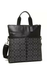 NEW with tag, Coach Mens Signature PVC City Foldover Tote F54774, BLACK